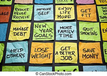 año nuevo, metas, o, resolutions