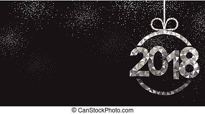 año nuevo, negro, 2018, fondo.