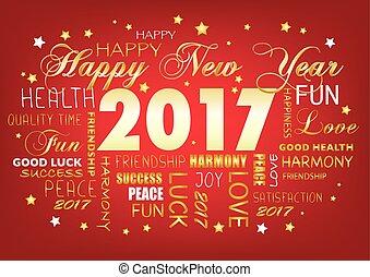 año nuevo, nube, 2017, feliz, etiqueta