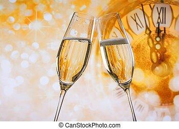 año nuevo, o, navidad, en, medianoche, con, flautas...
