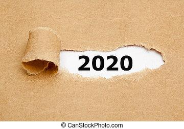 año, nuevo, papel, 2020, rasgado, concepto