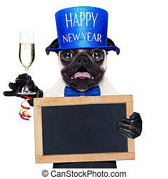 año nuevo, perro, feliz