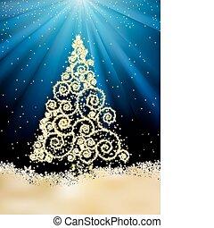 año nuevo, plantilla, con, navidad, árbol., eps, 8