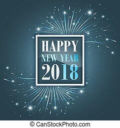 año nuevo, saludos, 2018, con, fuegos artificiales,...