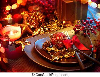 año, nuevo, tabla, setting., feriado, celebración navidad