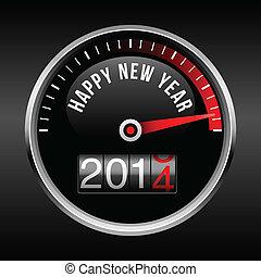 año, nuevo, tablero de instrumentos, backg, 2014, feliz