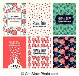 año, nuevo, tarjeta, vector, year., judío, ilustración, ...