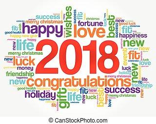 año, palabra, 2018, nube, saludo