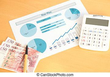 año, plan, con, calculadora, y, dinero