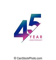 año, vector, plantilla, diseño, aniversario, ilustración, 45