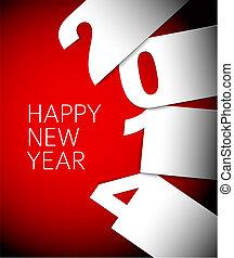 año, vector, rojo, nuevo, 2014, blanco, tarjeta, feliz