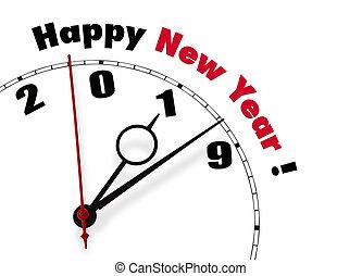 año, -, versión, 2019, inglés, nuevo, feliz