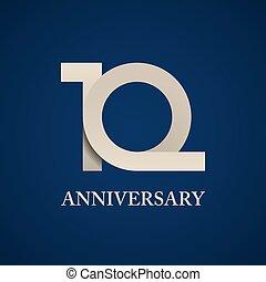 años, 10, papel, número, aniversario