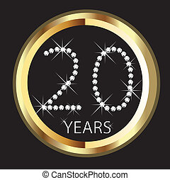 años, aniversario, 20, feliz