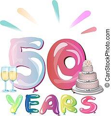 años, aniversario,  50