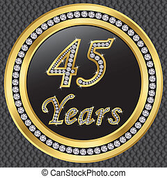 años, birthda, aniversario, 45, feliz