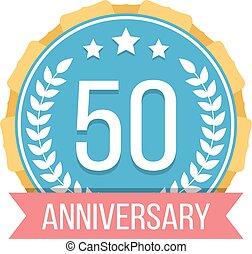 años, emblema, aniversario, 50