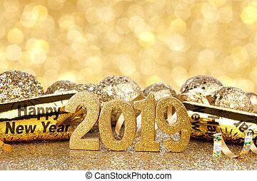 años, nuevo, eva, 2019, plano de fondo, decoraciones, ...