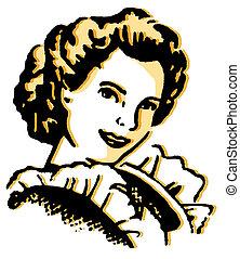a, årgång, porträtt illustration