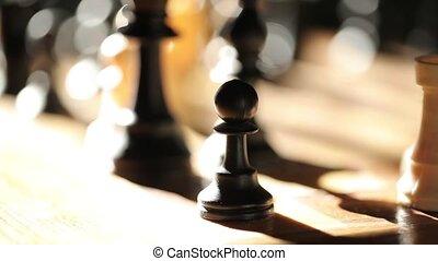 a, échecs abordent, dans, les, lumière soleil, noir blanc, jeu, figures