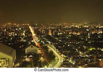 a, éjszaka, kilátás, közül, kyoto, város
