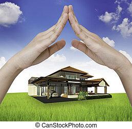 a, épület, alatt, kéz