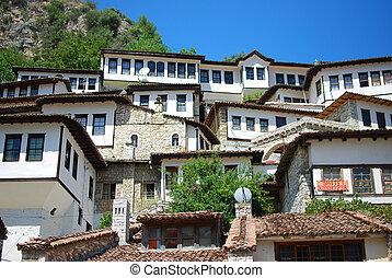 a, épületek, közül, a, ősi, város, közül, berat, alatt, albánia