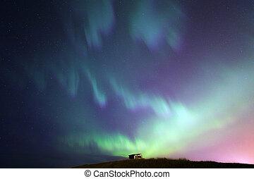 a, északi láng, aurora borealis, izland