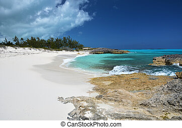 a, öken, strand, av, litet, exuma, bahamas