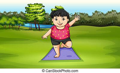 a, übergewichtige mädchen, trainieren