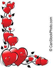a, אדום, ולנטיינים, לבבות, וקטור, רקע