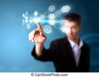 a, איש עסקים, לעבוד ב, טכנולוגיה מודרנית