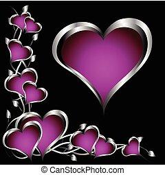 a, סגול, לבבות, יום של ולנטיינים, רקע, עם, כסף, לבבות, ו, פרחים, ב, a, רקע שחור