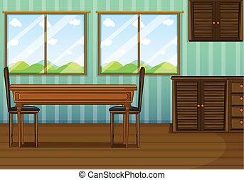 a, きれいにしなさい, 食堂, ∥で∥, 木製である, furnitures