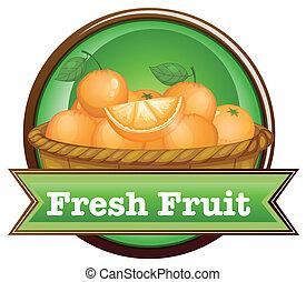 a, オレンジのバスケット, ∥で∥, a, 新鮮な果物, ラベル