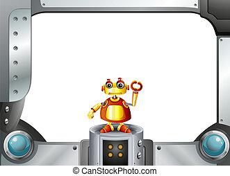 a, カラフルである, ロボット, 中央で, の, ∥, 空のフレーム