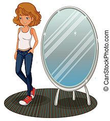 a, ティーンエージャーの少女, ∥横に∥, ∥, 鏡