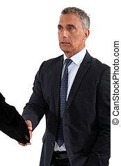 a, ビジネス, 握手