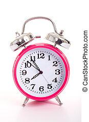 a, ピンク, 目覚し 時計, 上に, a, 白い背景