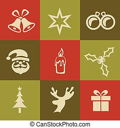a, ベクトル, シルエット, の, クリスマス