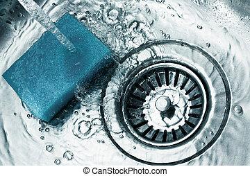 a, 不鏽鋼, 洗碗池, 流水