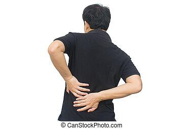 a, 人, 感動的である, 彼の, 背中, 隔離された, 白, 背景, ∥で∥, 切り抜き, path., 背中の痛み, そして, ウエスト, 痛み, 概念