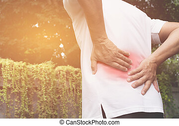 a, 人, 苦しみ, から, 腰痛, 背骨の傷害, そして, 筋肉, 問題, 問題, ∥において∥, outdoor.