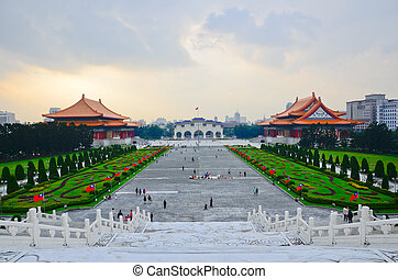 a, 光景, へ, 美しい, 日没, 上に, ∥, 国民, 台湾, 民主主義, 広場, から, chiang kai -...
