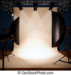 a, 写真の スタジオ, 背景, template.