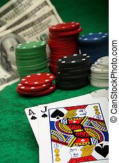 a, 勝利, ブラックジャック, 手, ∥で∥, 賭けることは 欠ける