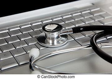 a, 医学, 听诊器, 同时,, 一, 便携式计算机