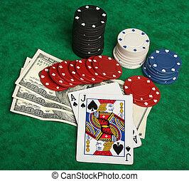 a, 取得胜利, blackjack, 手, 带, 赌博芯片