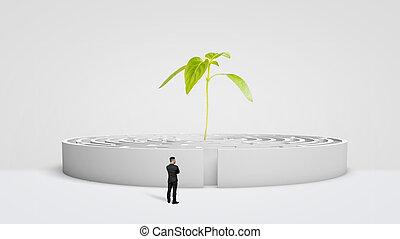a, 商人站, 前面, a, 白色, 輪, 迷宮, 由于, a, 新, 綠色的植物, 生長, 從, 它, center.