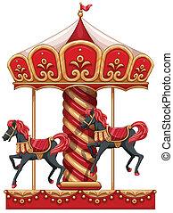 a, 圆盘传送带, 骑, 带, 马